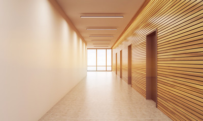 Sunlit office corridor