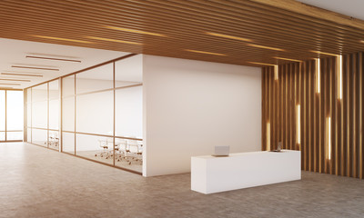 Modern company interior with reception table