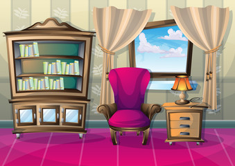 cartoon vector illustration interior living room with separated layers