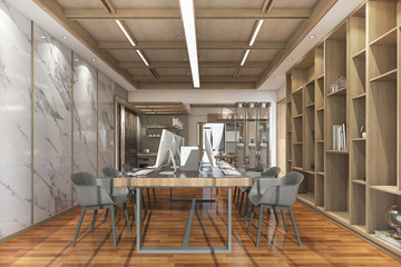 3d rendering wood contemporary style office