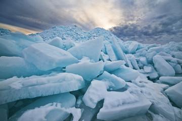 Huge ice hummocks on lake in spring.