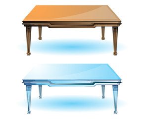 cartoon vector illustration interior wood table with separated layers
