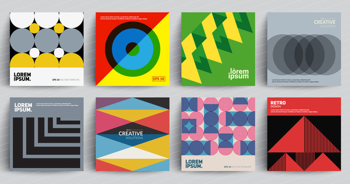 Retro covers set. Colorful modernism. Eps10 vector.
