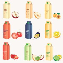 Different type of fruit's juice image design set for your advertisement, labels, stickers, postcards,decoration and other design needs.