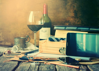 Men Things Set Different Accessories Wine Devises Paper