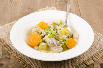 cock a leekie soup is a scottish specialty with carrot and parsl