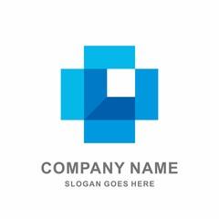 Open Box Geometric Square Cross Shape Vector Logo Template