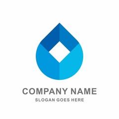 Water Drop Box Geometric Square Circle Shape Vector Logo Template