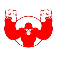 Angry gorilla. Aggressive big monkey. irritated wild animal. log
