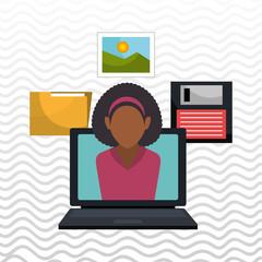 woman folder floppy laptop