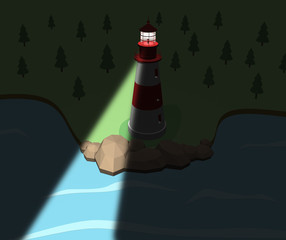 Lighthouse on the coast in the night. 3d illustration