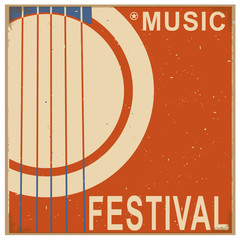 music festival background with text.Vector old poster with acou