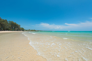 Wall Mural - Refreshing tropical beach with blue sky