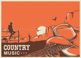 American country music poster with cowboy hat and guitar on land
