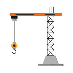 flat design industrial crane icon vector illustration
