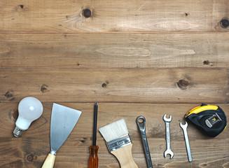 Tool decorate on wooden floor