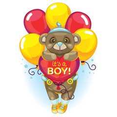 vector illustration. little baby brown bear with a balloon heart. inscription it's a boy! Postcard and design element for the newborn.