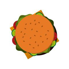 flat design whole hamburger icon vector illustration