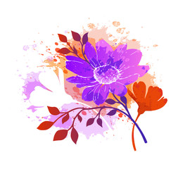 Watercolor abstract floral background. Autumn design. Decorative element. Vector nature illustration. EPS-10