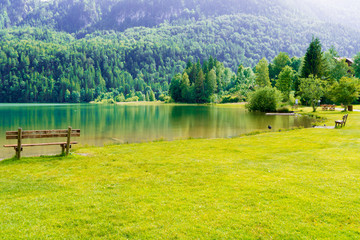 bench in green park and lake in alps