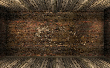 Obraz Empty dark old abandoned room interior with old cracked brick wall and old hardwood floor. Huanted room in dark atmosphere with dim light, 3D rendering - fototapety do salonu