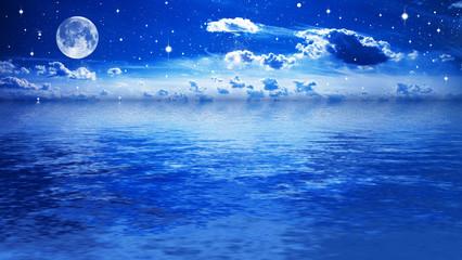 night quiet sea, bright star sky