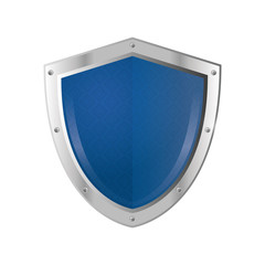 flat design blue shield emblem icon vector illustration