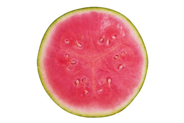 Slice of watermelon isolated on white background. Close up.