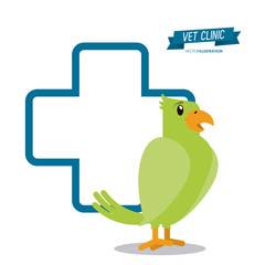bird cartoon cross shape veterinarian pet clinic icon, vector illustration