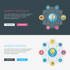 Set of flat line business website banner templates. Vector illustration. Modern thin line icons in circle. Illustration Concepts for Web Banners and Promotional Materials. Market research