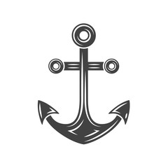 Anchor Black icon, logo element, flat vector illustration isolated on white background.