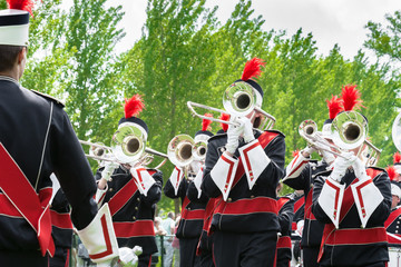 Details from a Music band, showband, fanfare or drumband
