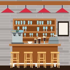 stand chairs bar glasses coffee machine break shop store icon. Colorfull illustration. Vector graphic