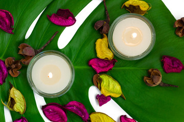 Fresh colorful composition of two burning candles, fragrant potp
