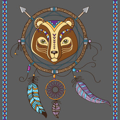 dream catcher with bear. boho style. totem animal