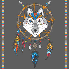 dream catcher with wolf. boho style. totem animal
