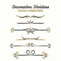 Flourish elements. Hand drawn dividers set. Ornamental decorative element. Vector ornate design.