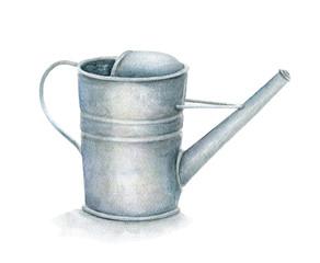 Watercolor gardening  watering pot