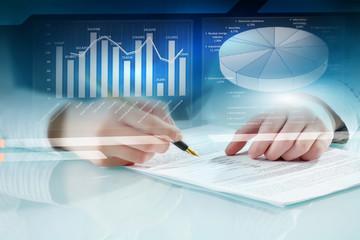 Analyzing statistics data . Mixed media