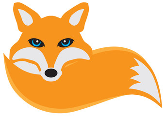 Fox with Tail Vector Illustration