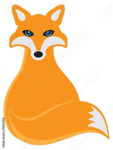 Sitting fox illustration - photo#12