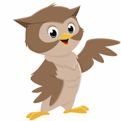 Vector cartoon illustration of a happy smiling owl
