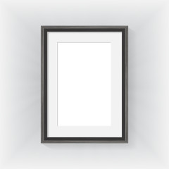 Wooden frame on wall gray backgroung