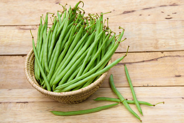 string bean  on  wooden  background