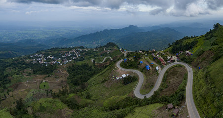 aerial view of mountain road to tubberk peak petchabun province