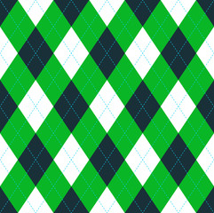 Seamless argyle pattern in dark green, lime green & white with blue stitch.