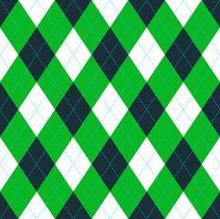 Seamless argyle pattern in dark green, lime green & white with blue stitch.