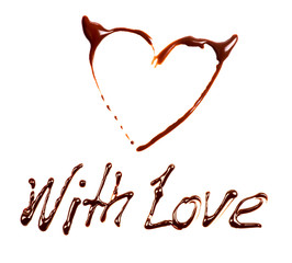 "phrase ""With Love"" written by chocolate on white background"
