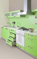 Luxurious new green kitchen with modern appliances