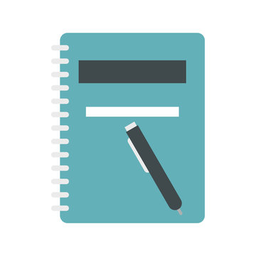 Notebook with pen icon in flat style isolated on white background. Notes symbol